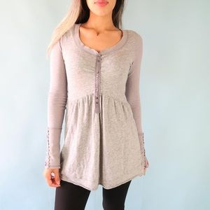 Free People Disco Polo Tunic w/Embroidered Sleeves